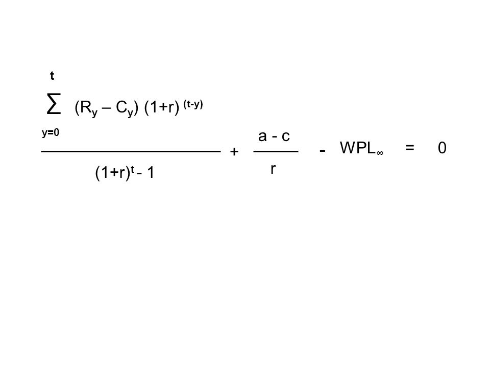 ∑ t y=0 (R y – C y ) (1+r) (t-y) (1+r) t - 1 + a - c r = - 0WPL ∞