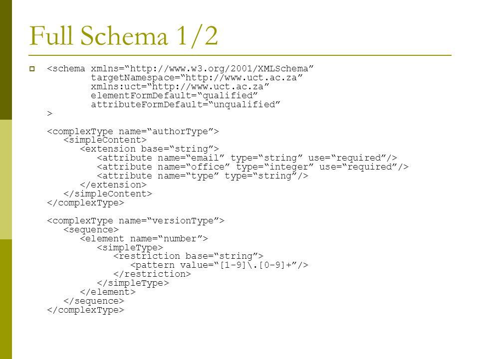 Full Schema 1/2 