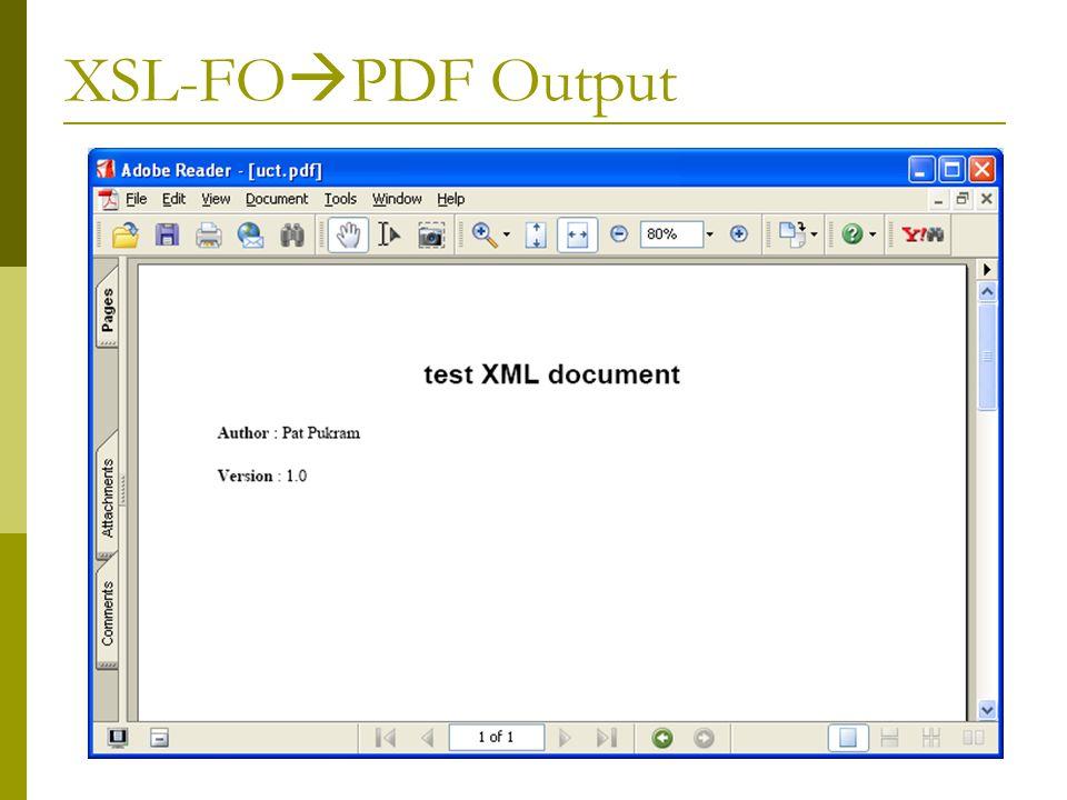 XSL-FO  PDF Output