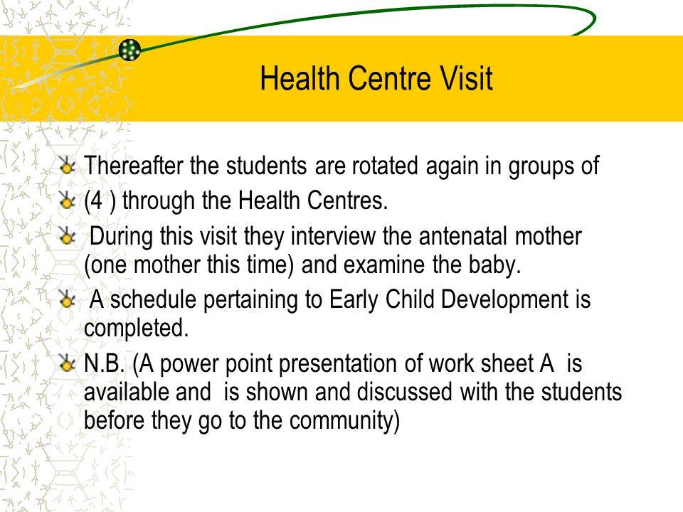 Health Centre Visit Thereafter the students are rotated again in groups of (4 ) through the Health Centres.