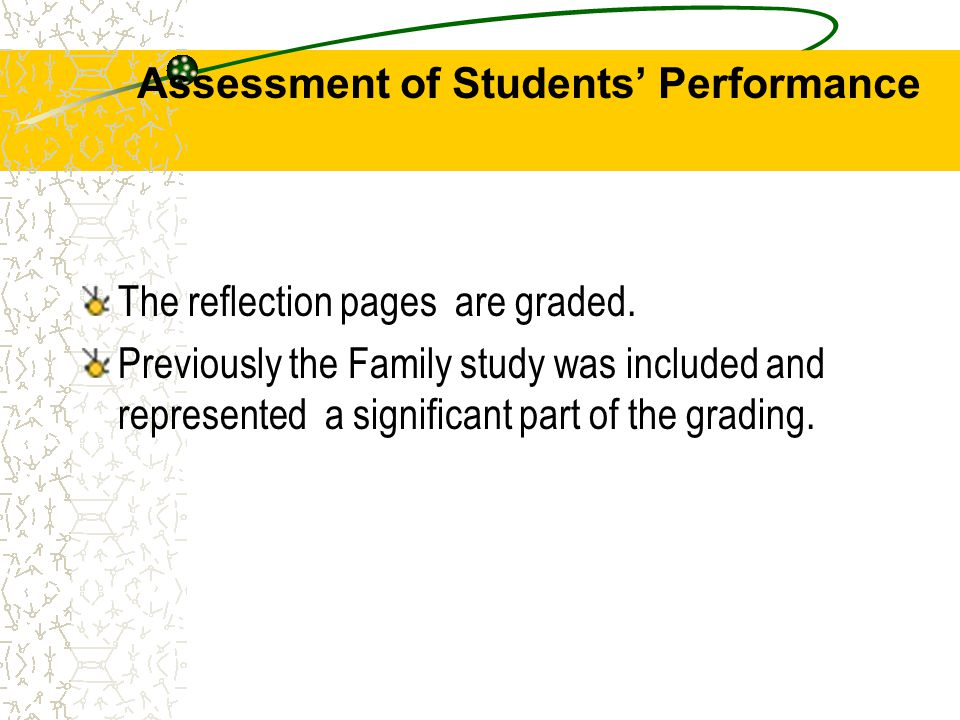 Assessment of Students' Performance The reflection pages are graded.