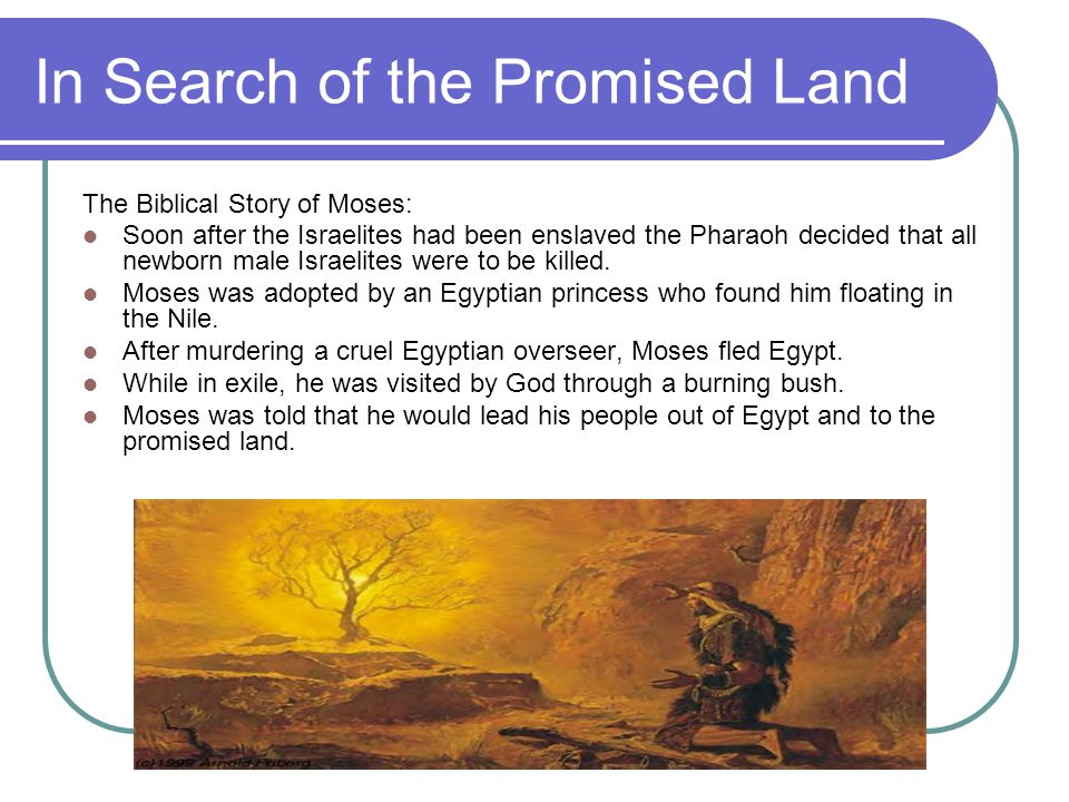 In Search of the Promised Land The Biblical Story of Moses: Soon after the Israelites had been enslaved the Pharaoh decided that all newborn male Israelites were to be killed.