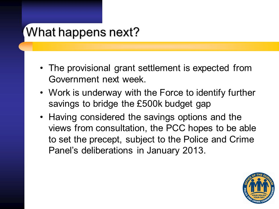 The provisional grant settlement is expected from Government next week.