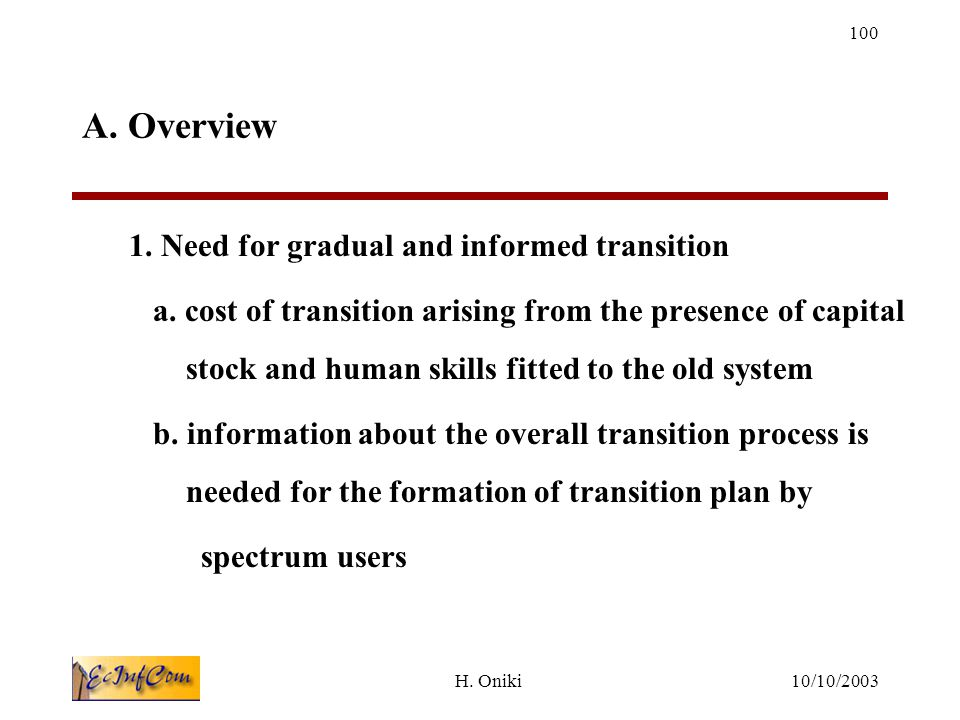 10/10/2003H.Oniki 100 A. Overview 1. Need for gradual and informed transition a.