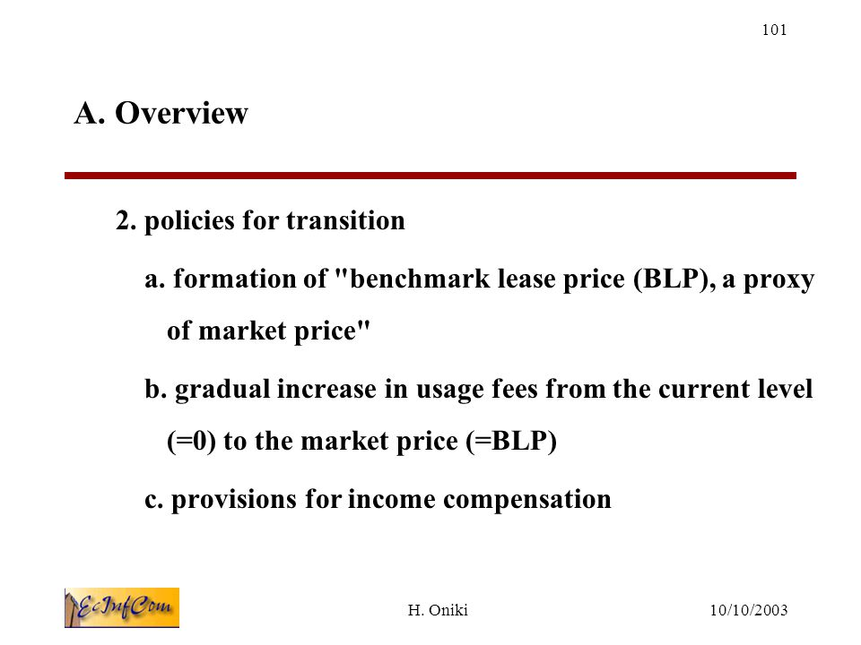 10/10/2003H.Oniki 101 A. Overview 2. policies for transition a.