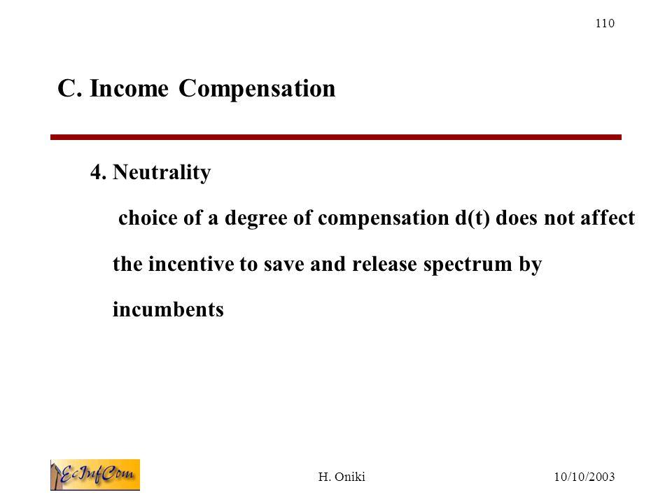 10/10/2003H. Oniki 110 C. Income Compensation 4.