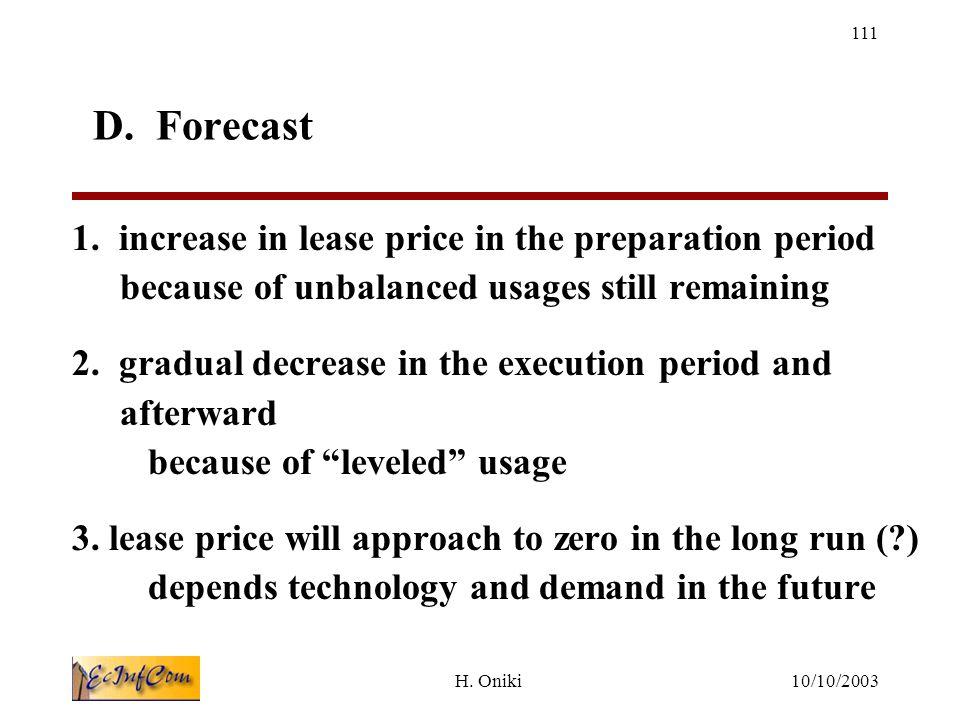 10/10/2003H. Oniki 111 D. Forecast 1.