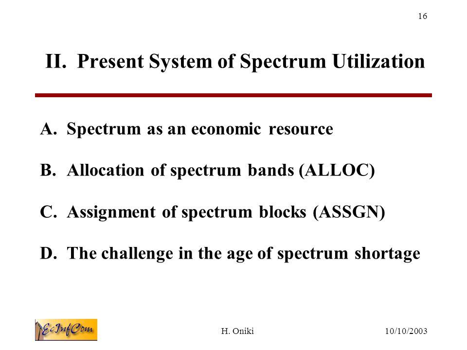 10/10/2003H. Oniki 16 II. Present System of Spectrum Utilization A.