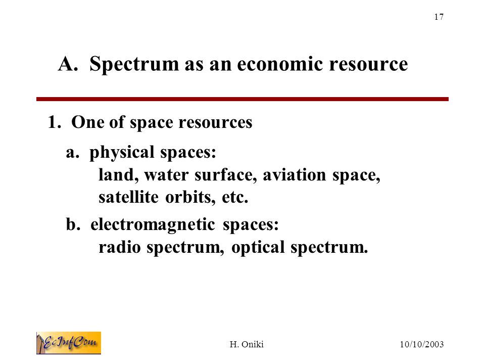 10/10/2003H.Oniki 17 A. Spectrum as an economic resource 1.