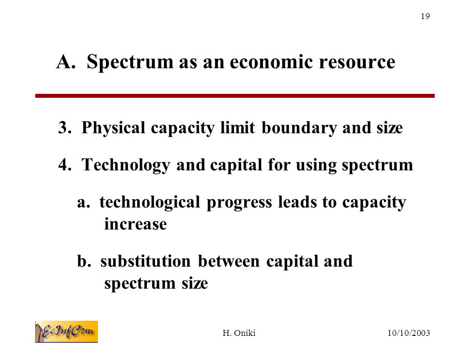 10/10/2003H.Oniki 19 A. Spectrum as an economic resource 3.