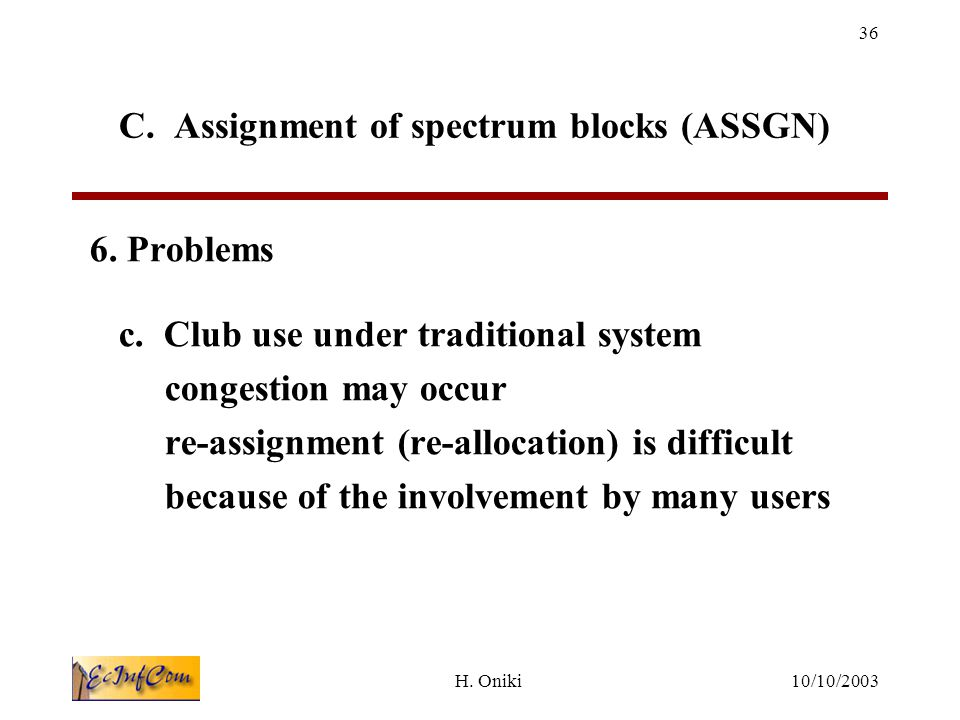 10/10/2003H.Oniki 36 C. Assignment of spectrum blocks (ASSGN) 6.