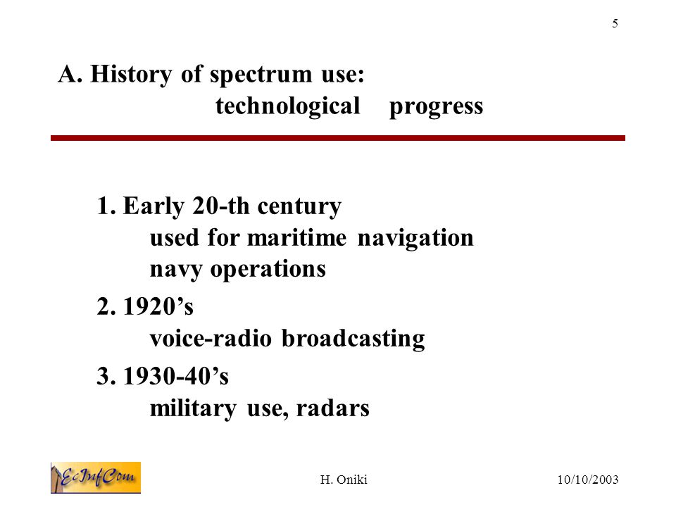 10/10/2003H.Oniki 5 A. History of spectrum use: technological progress 1.
