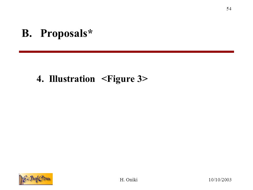 10/10/2003H. Oniki 54 B. Proposals* 4. Illustration