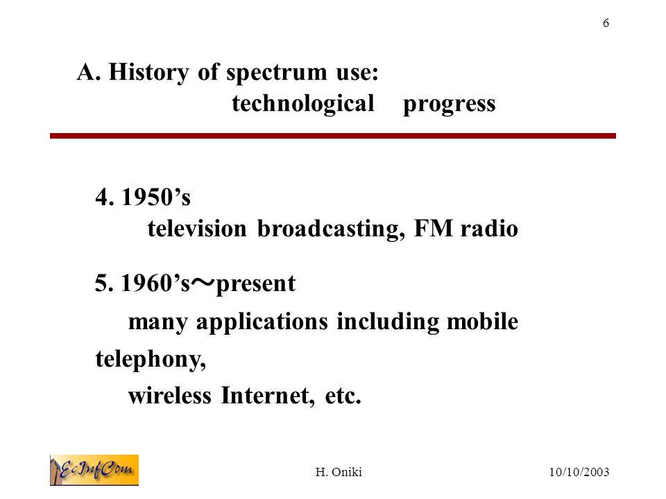 10/10/2003H. Oniki 6 4. 1950's television broadcasting, FM radio 5.