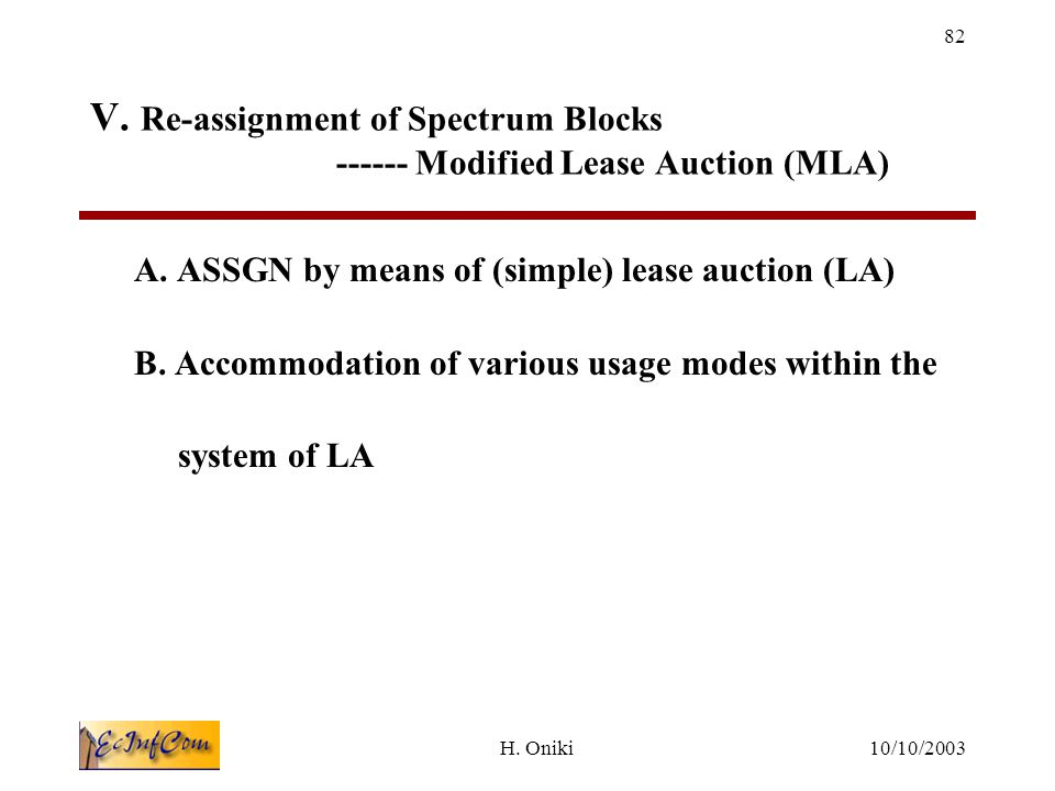 10/10/2003H.Oniki 82 V. Re-assignment of Spectrum Blocks ------ Modified Lease Auction (MLA) A.