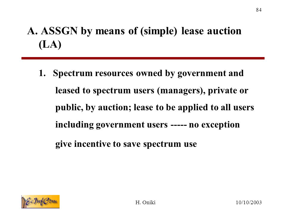 10/10/2003H.Oniki 84 A. ASSGN by means of (simple) lease auction (LA) 1.
