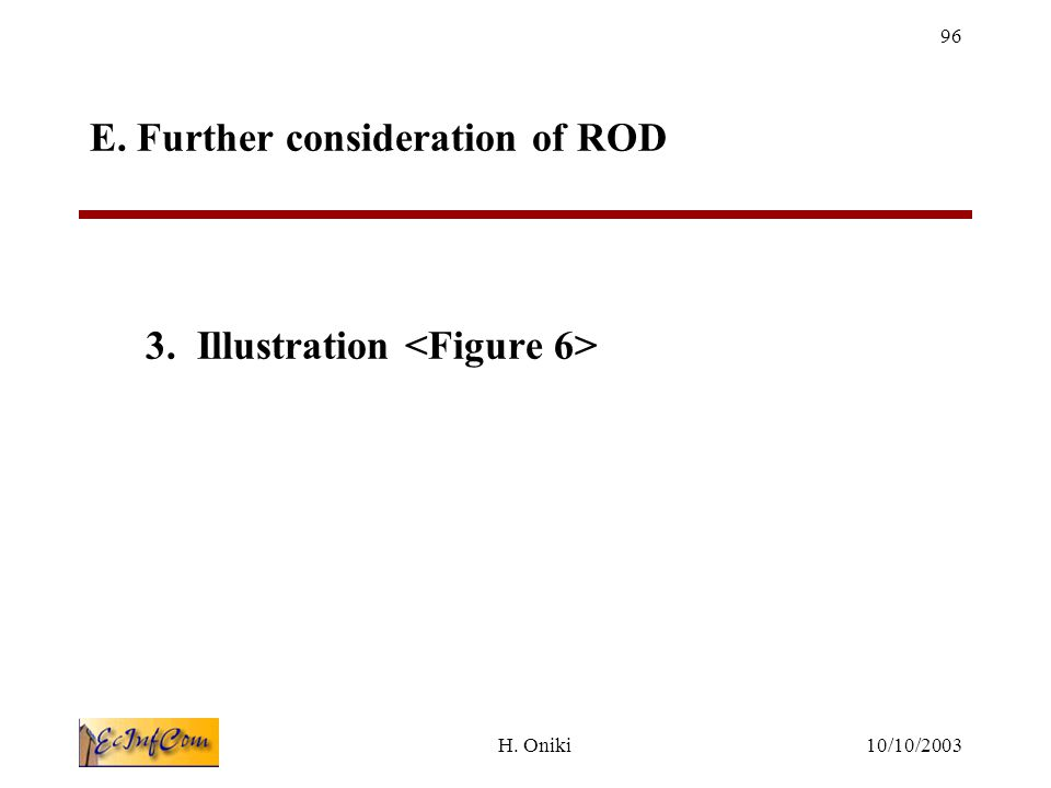 10/10/2003H. Oniki 96 E. Further consideration of ROD 3. Illustration