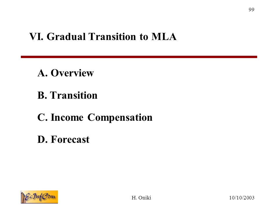 10/10/2003H.Oniki 99 VI. Gradual Transition to MLA A.