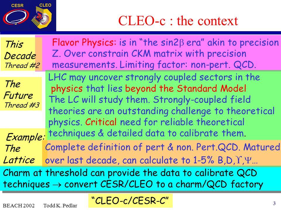 3 BEACH 2002 Todd K. Pedlar Flavor Physics: is in the sin2  era akin to precision Z.