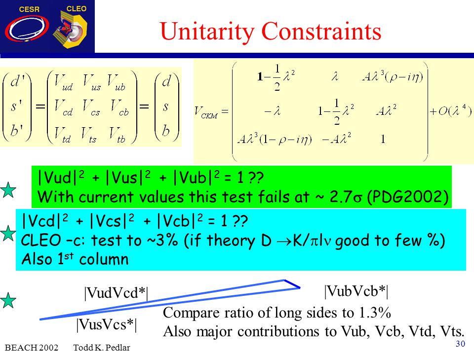 30 BEACH 2002 Todd K. Pedlar Unitarity Constraints |Vud| 2 + |Vus| 2 + |Vub| 2 = 1 .