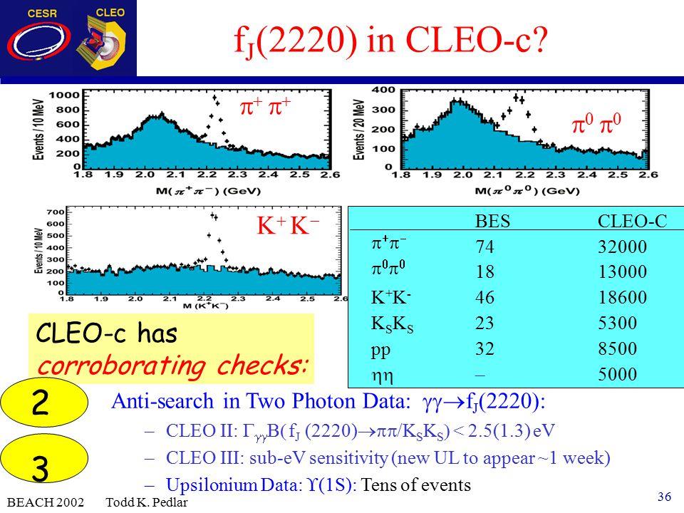 36 BEACH 2002 Todd K. Pedlar f J (2220) in CLEO-c.