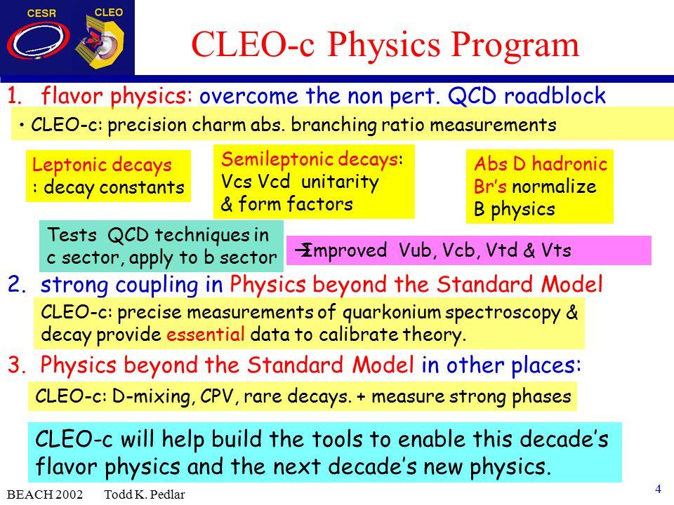 4 BEACH 2002 Todd K. Pedlar CLEO-c Physics Program 1.flavor physics: overcome the non pert.