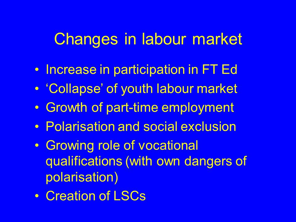 Changes in policy - The New Agenda New directions in integrated policy e.g.