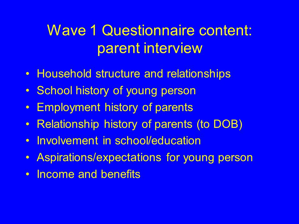 Wave 1 Questionnaire content: young person Attitudes to school/education School subject preferences, choices and performance Access to and use of ICT