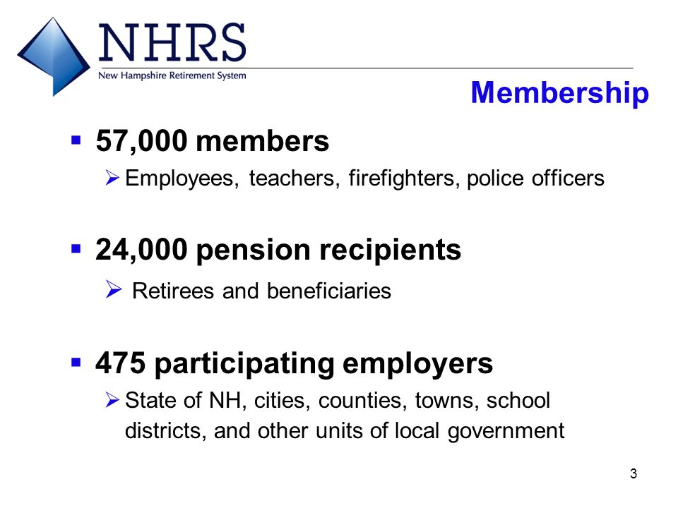3  57,000 members  Employees, teachers, firefighters, police officers  24,000 pension recipients  Retirees and beneficiaries  475 participating e