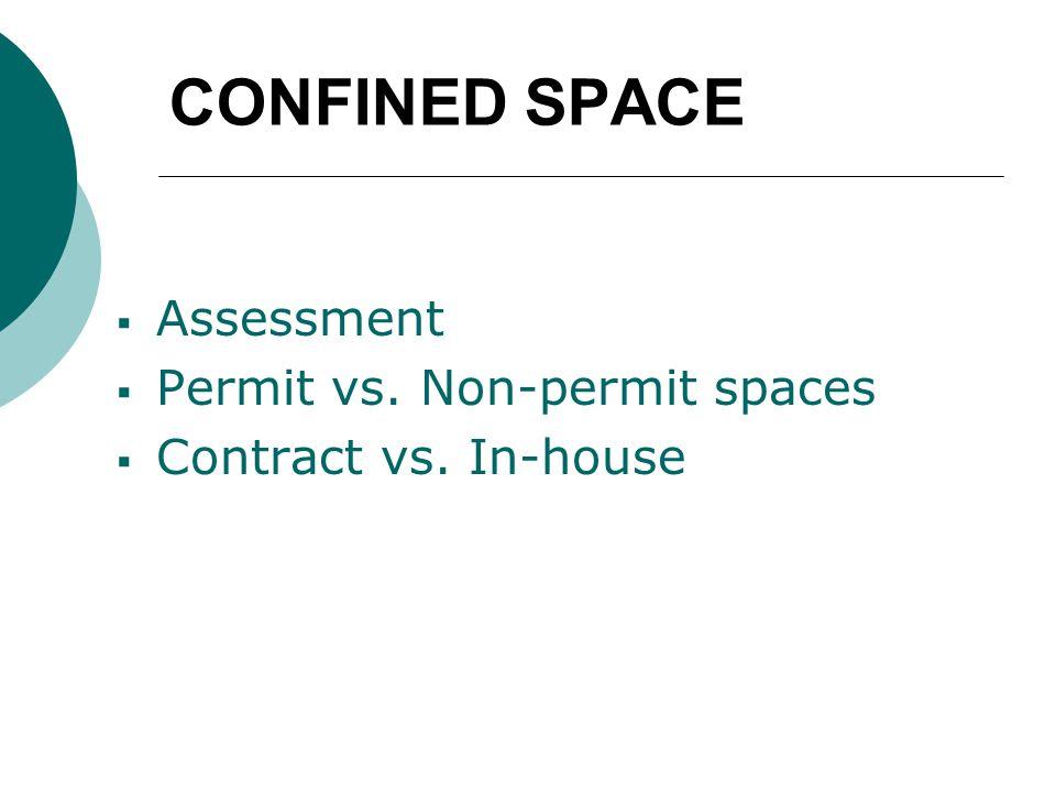 CONFINED SPACE  Assessment  Permit vs. Non-permit spaces  Contract vs. In-house