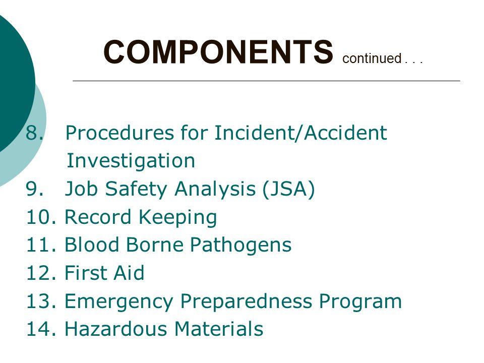 8. Procedures for Incident/Accident Investigation 9.
