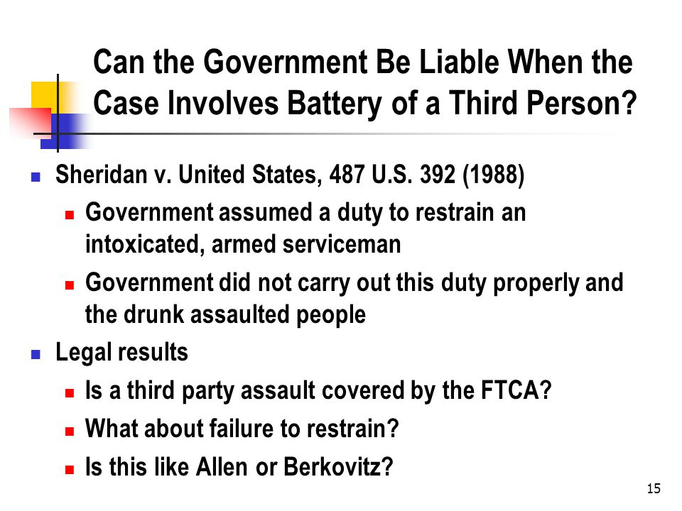 15 Can the Government Be Liable When the Case Involves Battery of a Third Person.