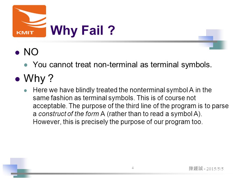Why Fail . NO You cannot treat non-terminal as terminal symbols.