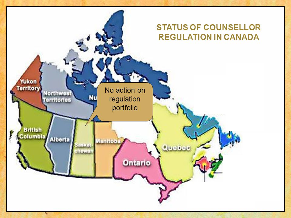 No action on regulation portfolio STATUS OF COUNSELLOR REGULATION IN CANADA