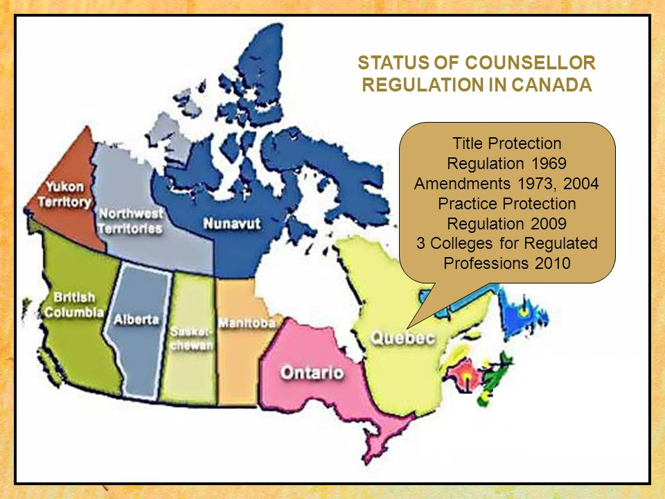 Title Protection Regulation 1969 Amendments 1973, 2004 Practice Protection Regulation 2009 3 Colleges for Regulated Professions 2010 STATUS OF COUNSELLOR REGULATION IN CANADA
