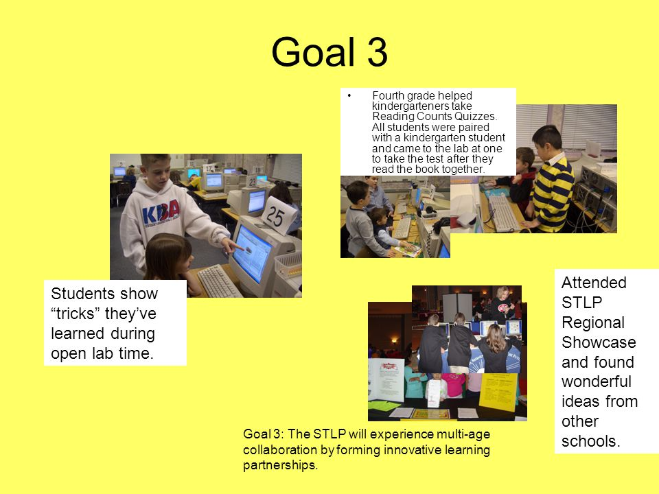 Goal 3 Fourth grade helped kindergarteners take Reading Counts Quizzes.