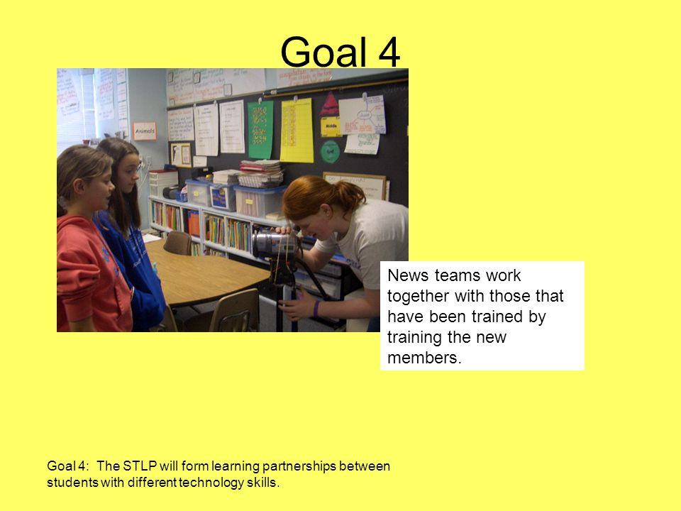 Goal 4 Goal 4: The STLP will form learning partnerships between students with different technology skills.