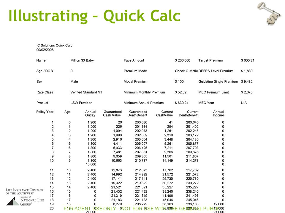 Illustrating – Quick Calc FOR AGENT USE ONLY – NOT FOR USE WITH THE GENERAL PUBLIC