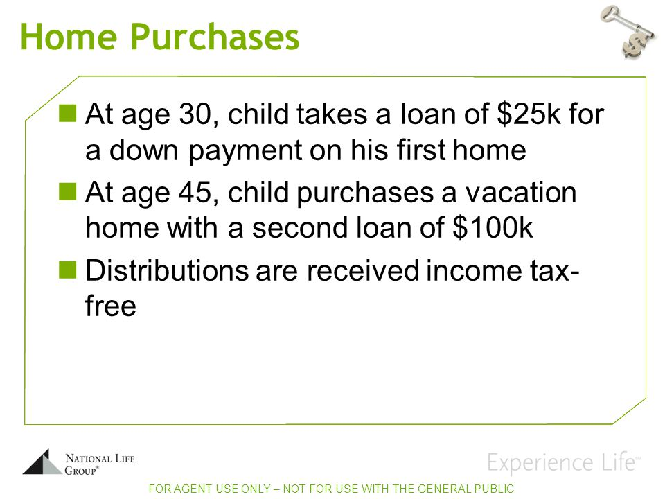 Home Purchases At age 30, child takes a loan of $25k for a down payment on his first home At age 45, child purchases a vacation home with a second loan of $100k Distributions are received income tax- free FOR AGENT USE ONLY – NOT FOR USE WITH THE GENERAL PUBLIC
