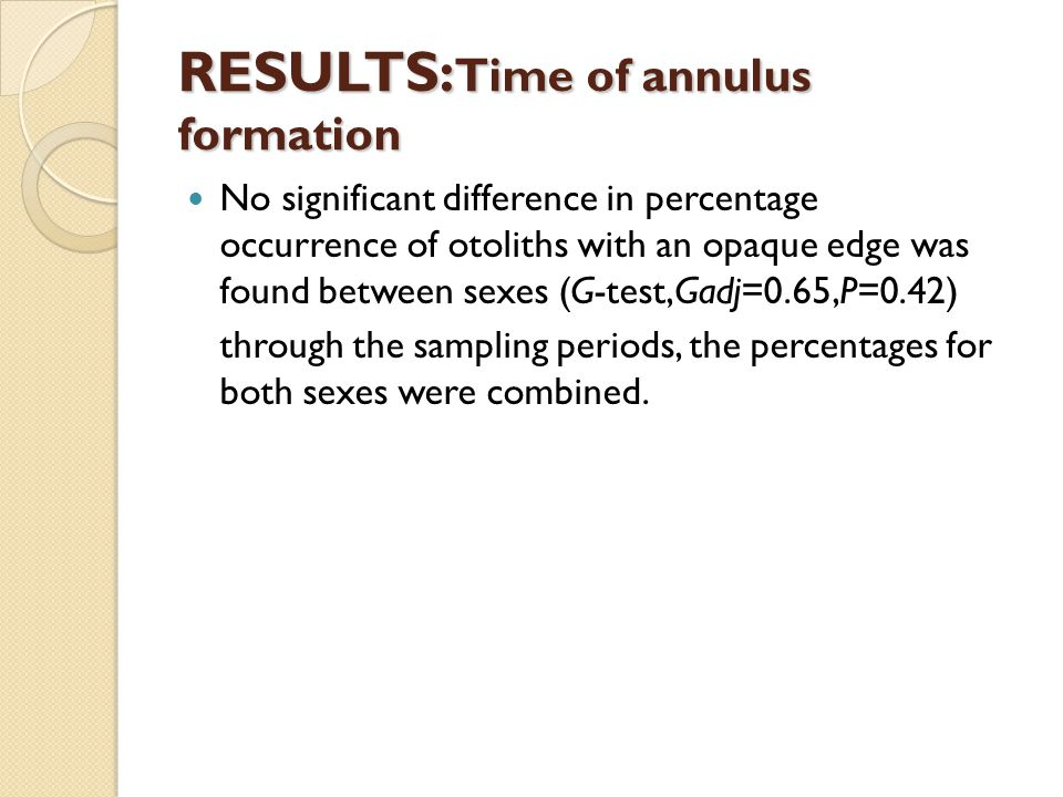 RESULTS: Time of annulus formation No significant difference in percentage occurrence of otoliths with an opaque edge was found between sexes (G-test,