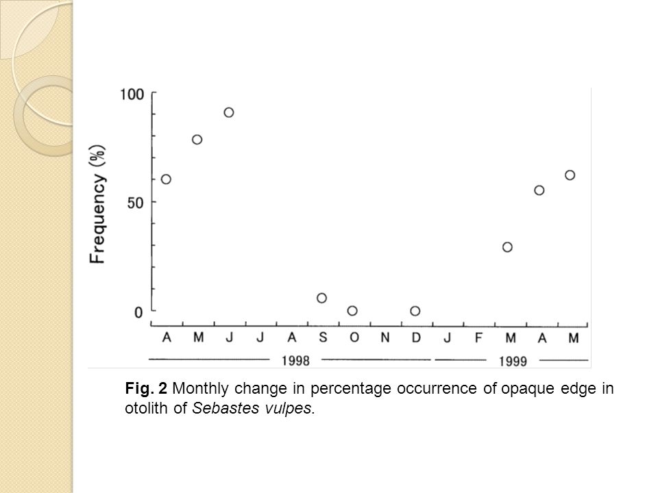 Fig. 2 Monthly change in percentage occurrence of opaque edge in otolith of Sebastes vulpes.