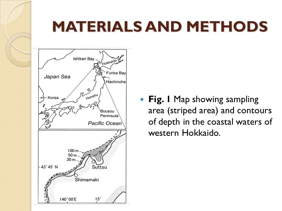 MATERIALS AND METHODS Fig. 1 Map showing sampling area (striped area) and contours of depth in the coastal waters of western Hokkaido.
