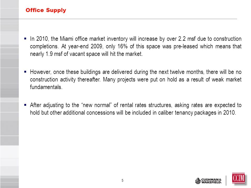 5  In 2010, the Miami office market inventory will increase by over 2.2 msf due to construction completions.