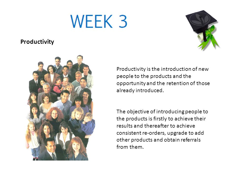 Productivity Productivity is the introduction of new people to the products and the opportunity and the retention of those already introduced. The obj