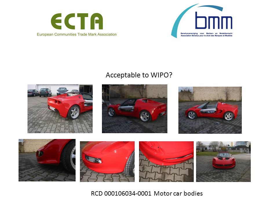 Acceptable to WIPO? RCD 000106034-0001 Motor car bodies