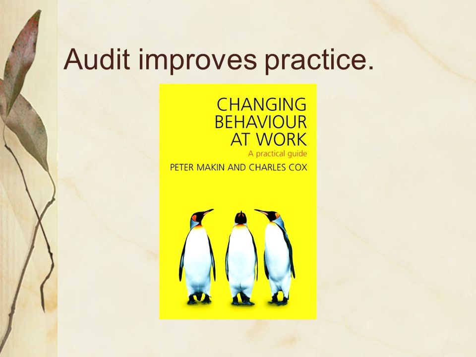 Audit improves practice.