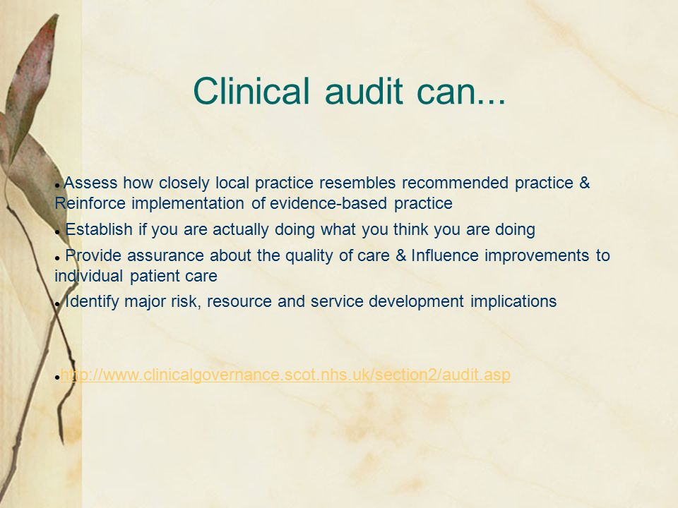Clinical audit can...