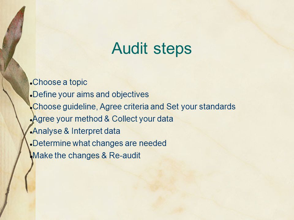 Audit steps Choose a topic Define your aims and objectives Choose guideline, Agree criteria and Set your standards Agree your method & Collect your data Analyse & Interpret data Determine what changes are needed Make the changes & Re-audit