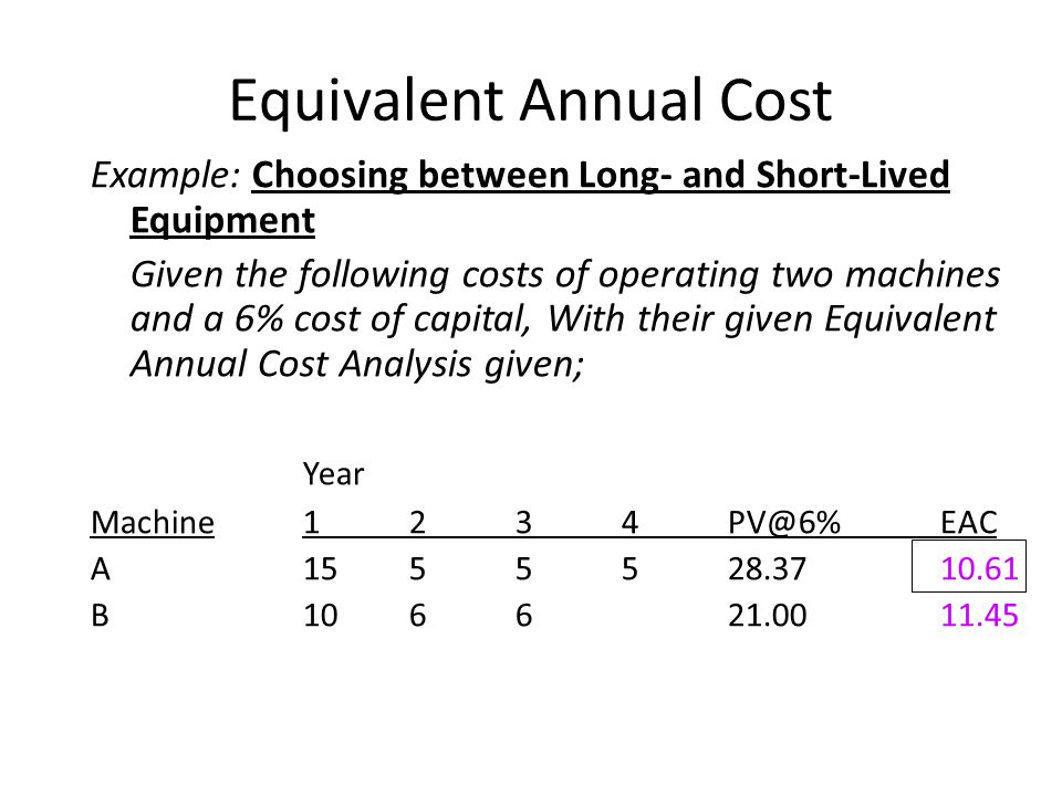 Equivalent Annual Cost Example: Choosing between Long- and Short-Lived Equipment Given the following costs of operating two machines and a 6% cost of capital, With their given Equivalent Annual Cost Analysis given; Year Machine1234PV@6%EAC A1555528.3710.61 B106621.0011.45