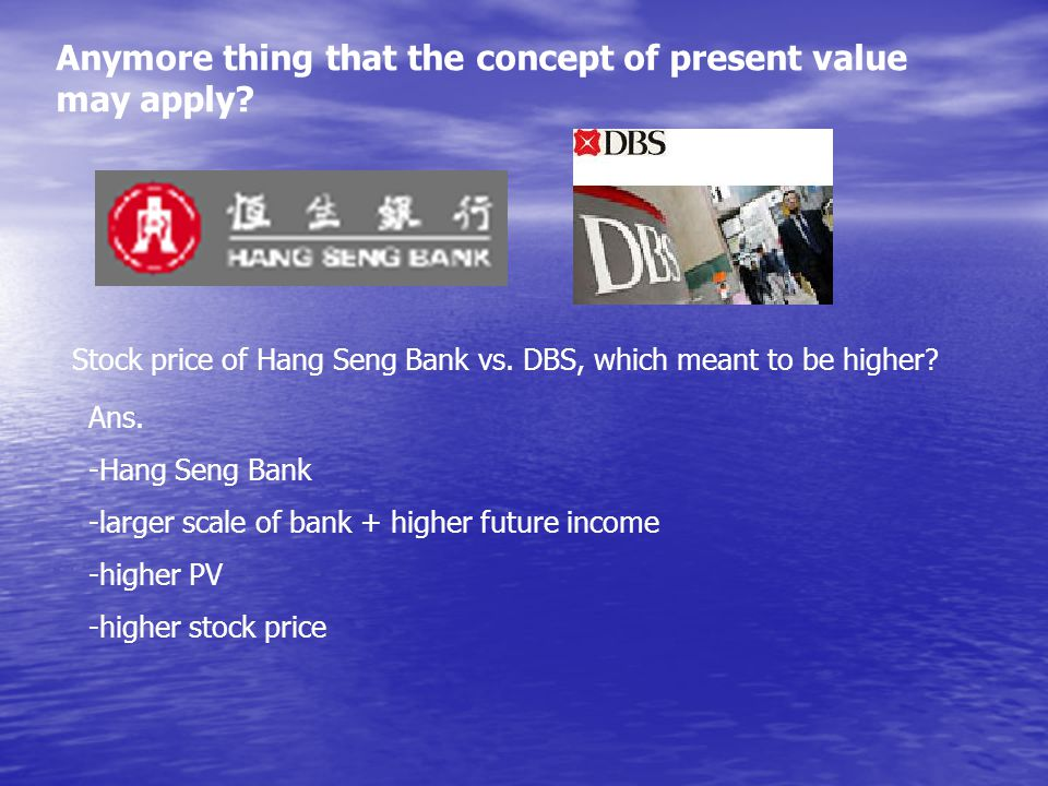 Anymore thing that the concept of present value may apply.